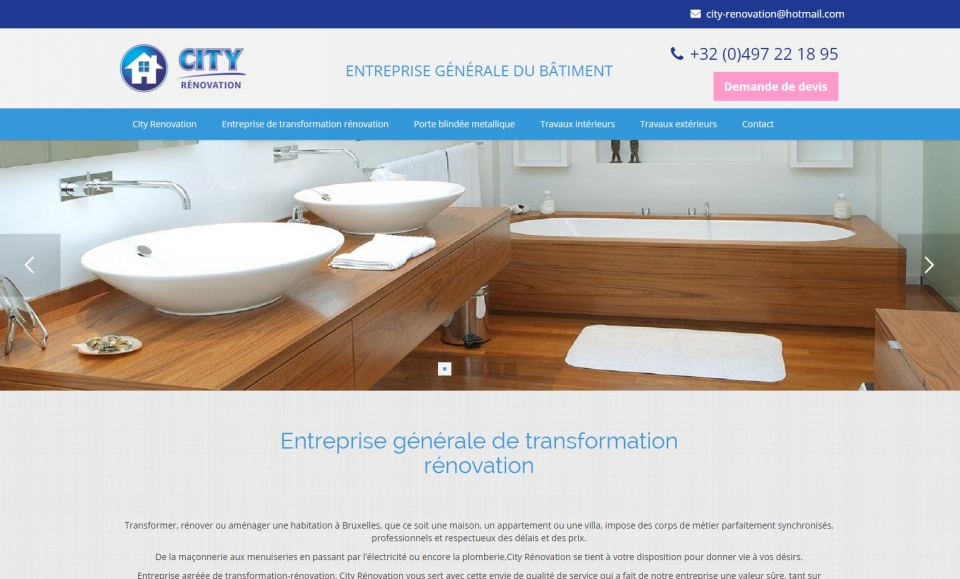 Site catalogue pour City Rénovation
